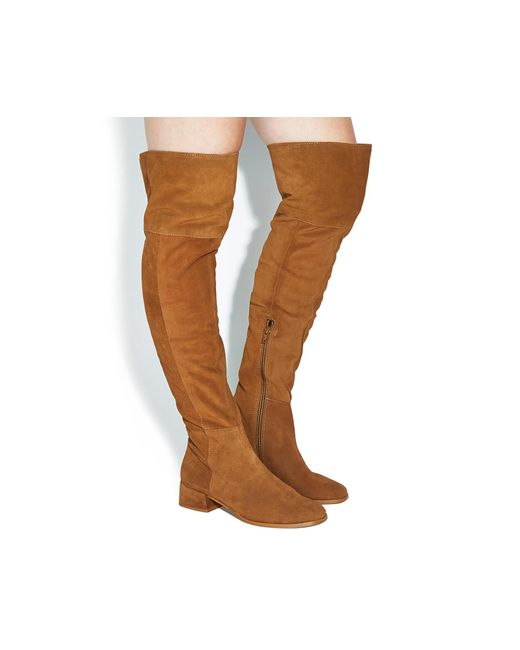 Office   Brown Esme Block Heel Over The Knee Boots   Lyst