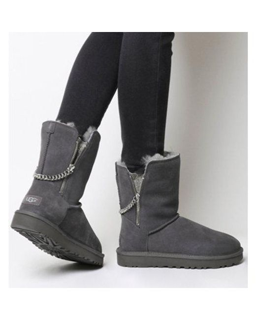 ugg classic short sparkle zip exclusive in gray lyst rh lyst co uk