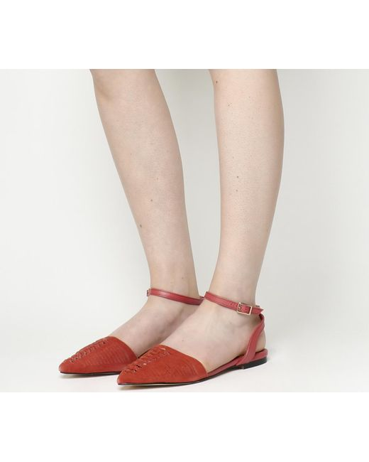 Office | Red Dynamic Two Part Weave Slingbacks | Lyst