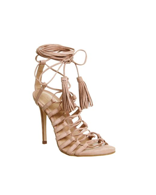 Office | Natural Adorned Multi Strap Tassel Heels | Lyst