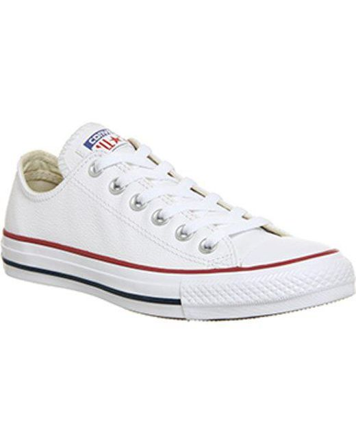 da6ff648f21 Converse - All Star Leather Ox Women s Shoes (trainers) In White - Lyst