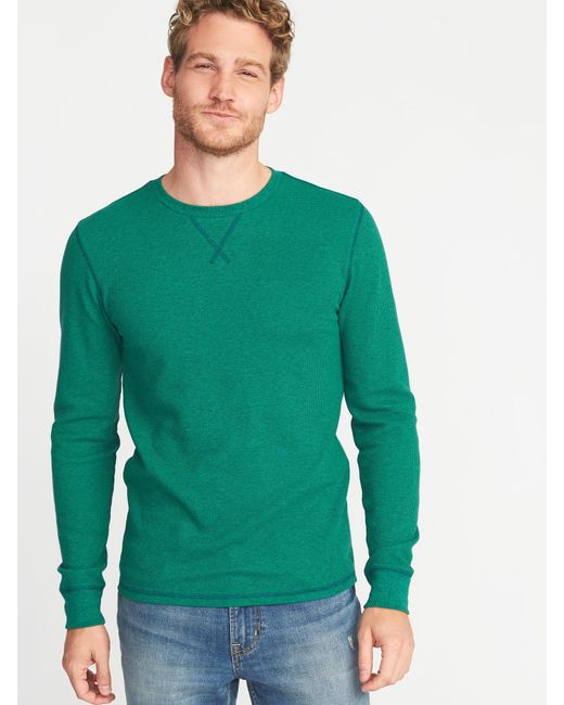 58de944f2b5 Lyst - Old Navy Soft-washed Thermal Crew-neck Tee in Green for Men