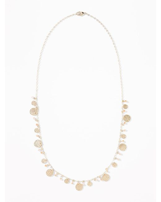 Old Navy - Multicolor Hammered-coin Chain Necklace - Lyst