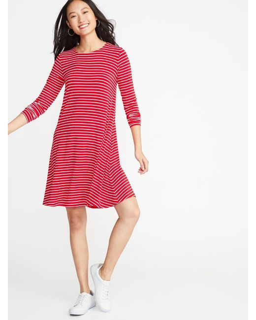 87307dc5c9f7 Old Navy - Red Jersey Swing Dress - Lyst ...
