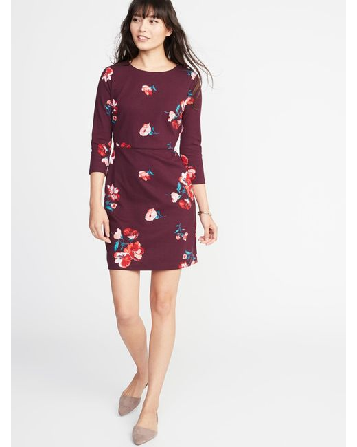 64b5469aeb3 Lyst - Old Navy Patterned Ponte-knit Sheath Dress in Red