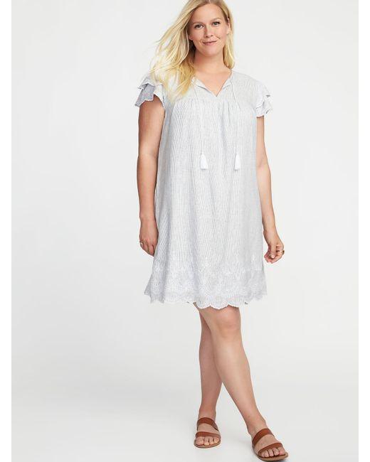 Lyst Old Navy Plus Size Linen Blend Cutwork Swing Dress In White