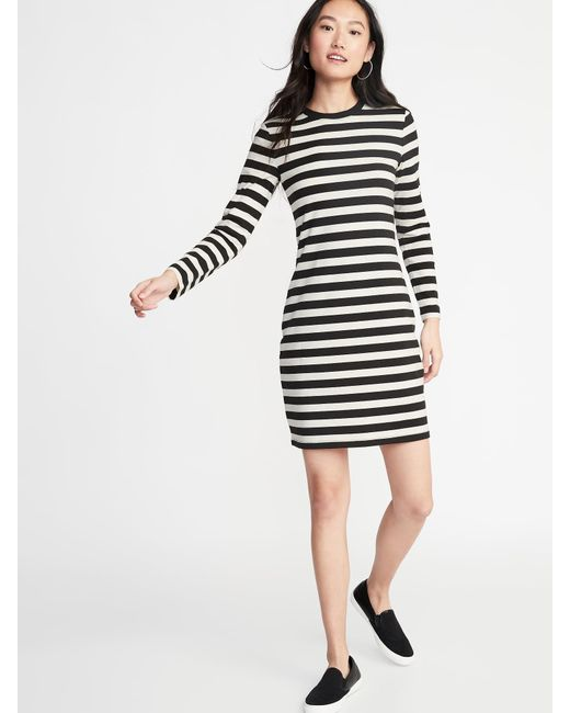 e07210d06895 Lyst - Old Navy Fitted Striped Jersey Shift Dress in Black