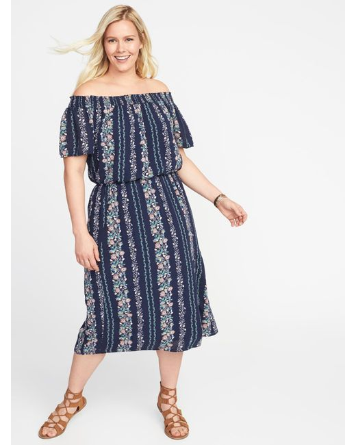 Lyst Old Navy Off The Shoulder Plus Size Midi Dress In Blue