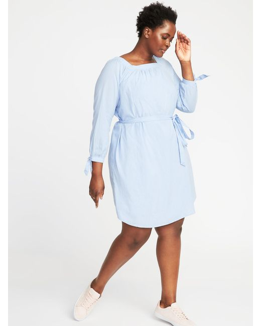 Lyst Old Navy Square Neck Plus Size Tie Belt Shift Dress In Blue