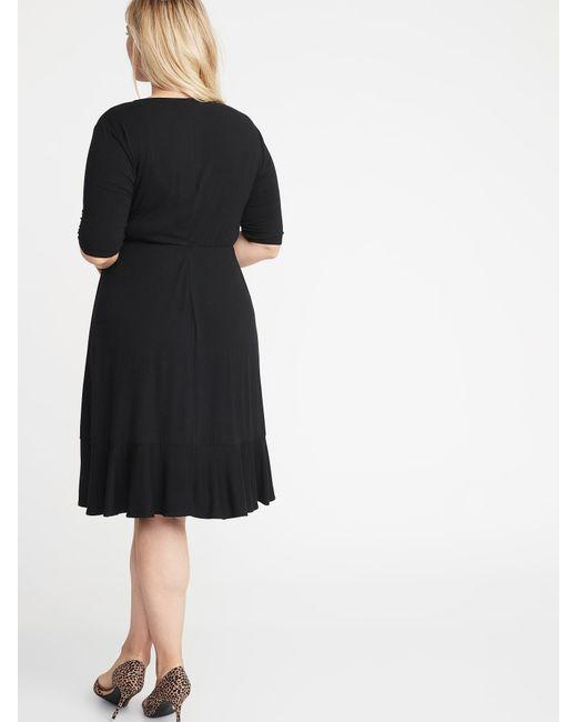 862e409d616 Lyst - Old Navy Waist-defined Faux-wrap Jersey Plus-size Dress in Black