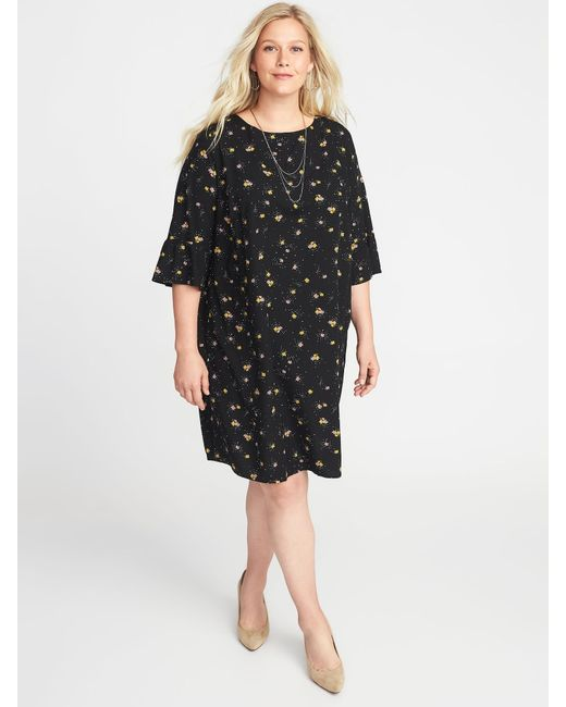 Old Navy - Black Floral-print 3/4-sleeve Plus-size Shift Dress - Lyst
