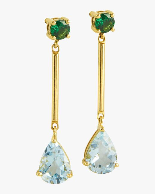 Yi Collection - Multicolor Tsavorite And Aquamarine Raindrop Earrings - Lyst