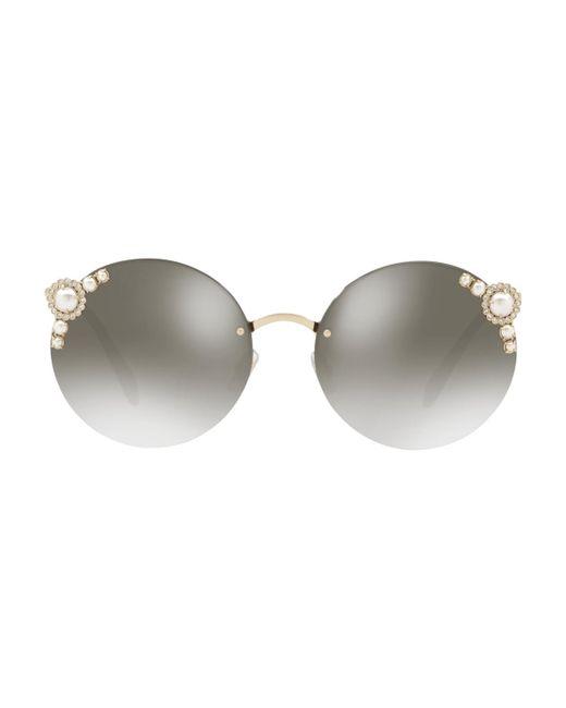 Miu Miu - Gray Round Pearl - Lyst