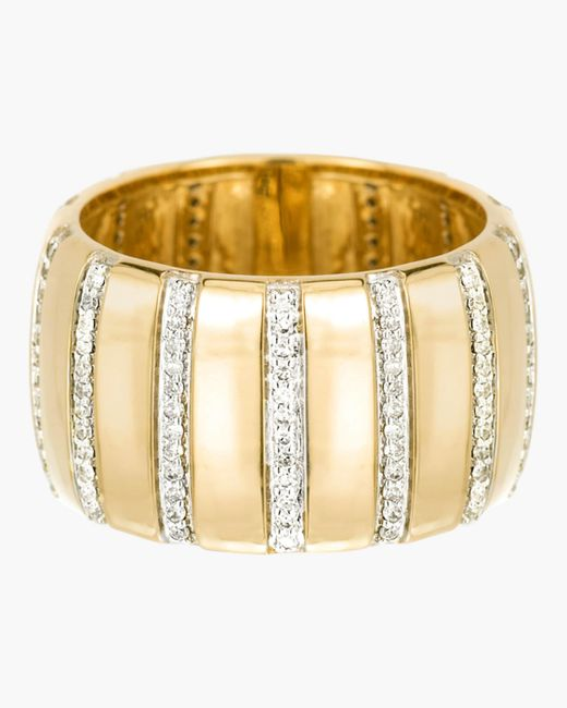 Adina Reyter - Metallic Diamond Stripe Barrel Ring - Lyst