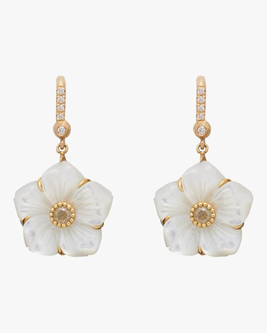 Nina Runsdorf - Multicolor Mother Of Pearl Flower Earrings - Lyst