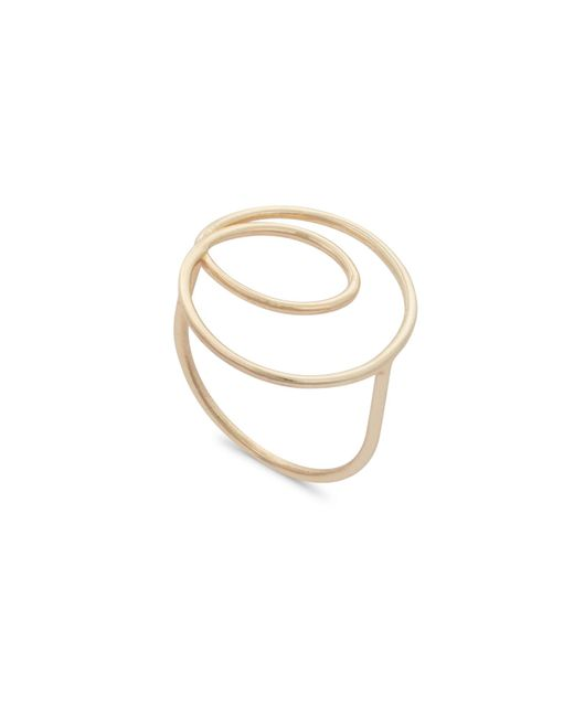 Oliver Bonas - Metallic Swirl Wire Gold Plated Ring - Lyst