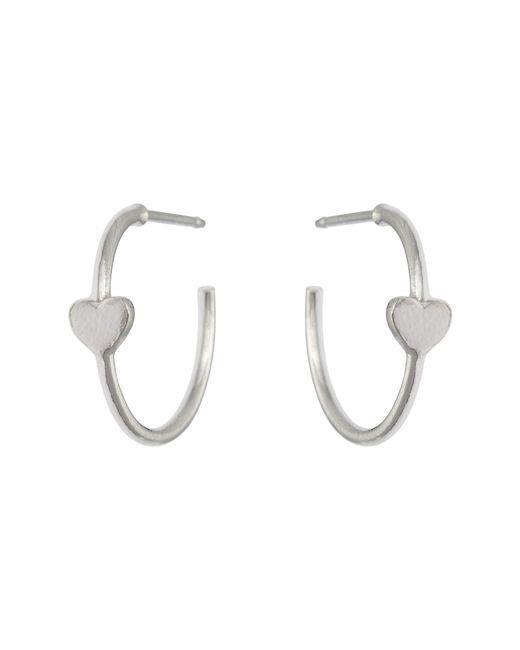 69a739f53 Oliver Bonas - Metallic Forever Heart Silver Hoop Earrings - Lyst ...