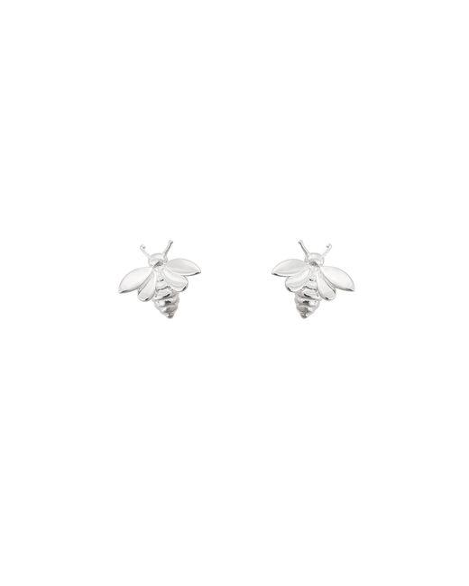 Oliver Bonas - Metallic Silver Bee Stud Earrings - Lyst