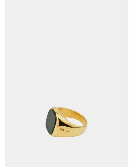 Phira London Green Bloodstone Gold Jamestown Ring for men