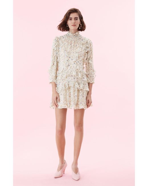 6008ce4c50f Lyst - Rebecca Taylor Vivianna Ruffle Silk-blend Dress in Natural ...