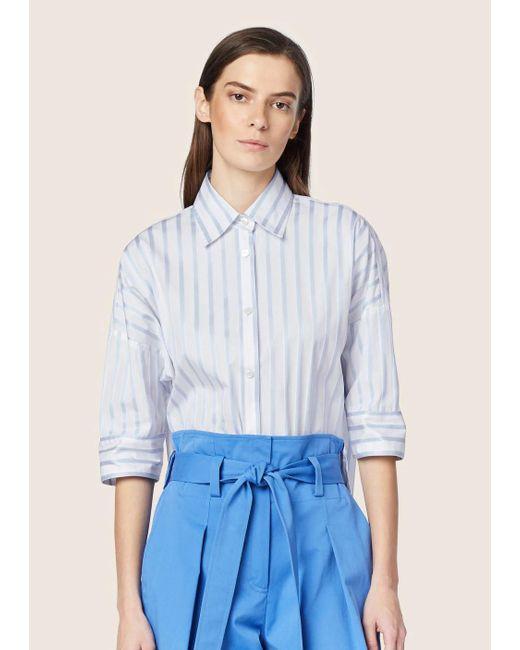 e3d3021aaf37f Derek Lam - Blue Oversized Striped Cotton Button-down Shirt - Lyst ...