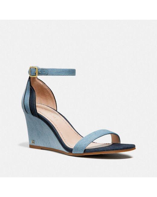 ad2eaf431ecc COACH - Blue Olive Sandal - Lyst ...