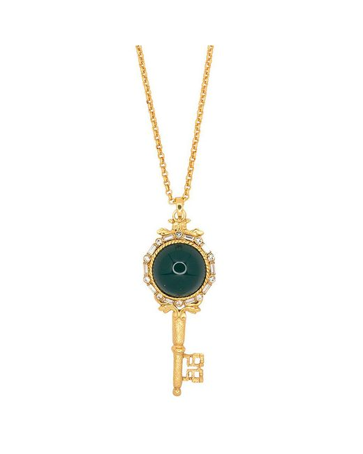 Kenneth Jay Lane - Metallic Antique Gold And Chyrsophase Key Pendant Necklace - Lyst