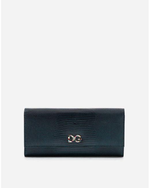 Dolce & Gabbana - Blue Continental Wallet In Iguana Print Calfskin - Lyst