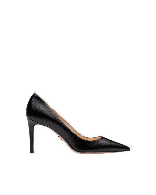 Prada - Black Saffiano Textured Patent Leather Pumps - Lyst