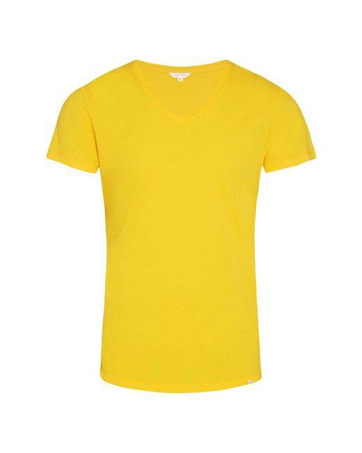 Orlebar Brown - Ob-v T-shirt Mit V-ausschnitt Und Körperbetonter Passform In Toucan Yellow for Men - Lyst