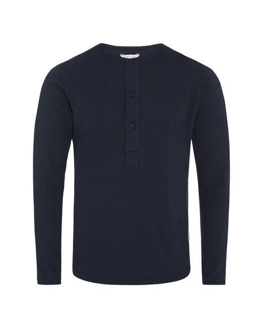 Orlebar Brown - Blue Craine Waffle Navy Henley T-shirt for Men - Lyst