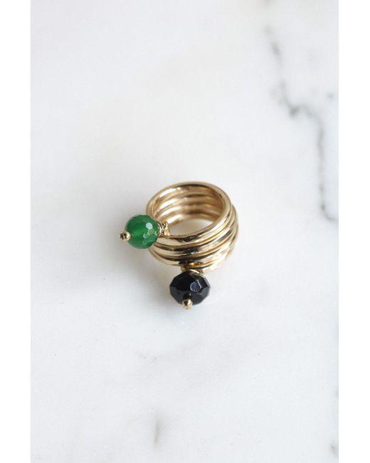 Sonia Boyajian | Metallic Coil Ring With Agate & Onyx | Lyst