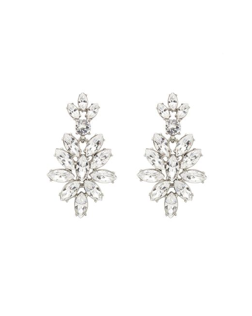 Oscar de la Renta | White Swarovski Navette Drop Earrings | Lyst