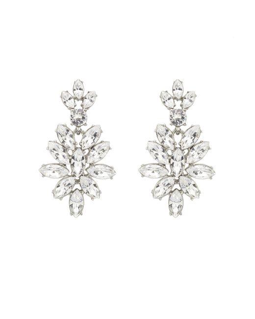 Oscar de la Renta | White Swarovski Navette Drop Earrings | Lyst