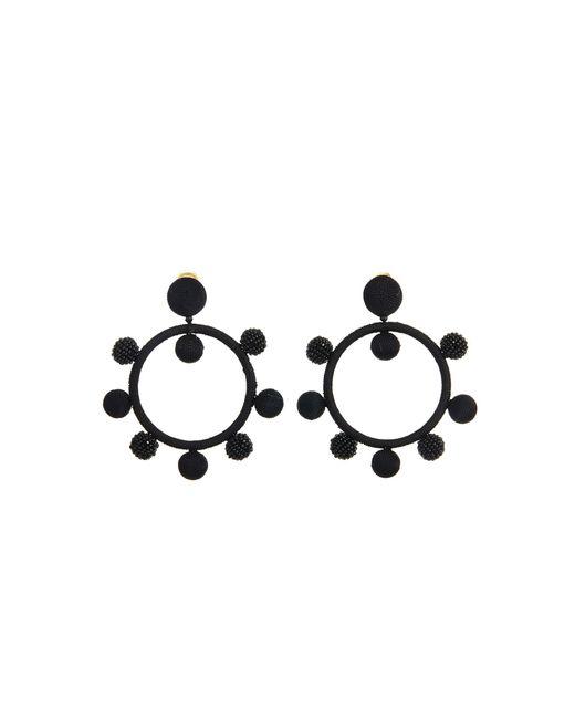 Oscar de la Renta - Black Silk Ball Hoop Earrings - Lyst