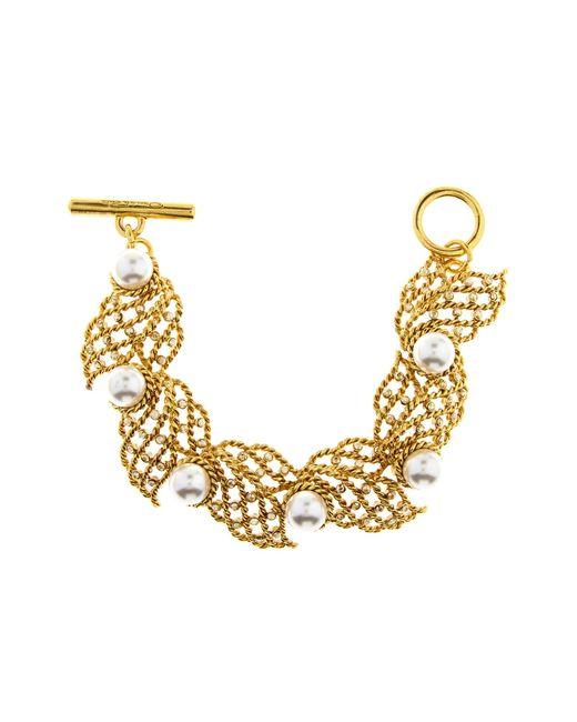 Oscar de la Renta - Metallic Pearl Net Bracelet - Lyst