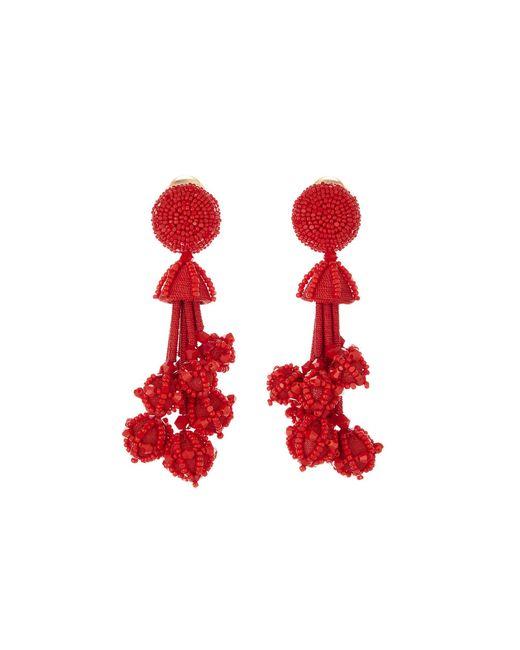 Oscar de la Renta - Red Multi Bead Tassel Earrings - Lyst