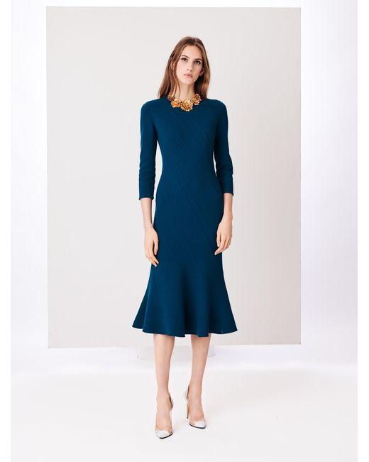 Oscar de la Renta - Blue Seam-detailed Stretch-wool Crepe Dress - Lyst