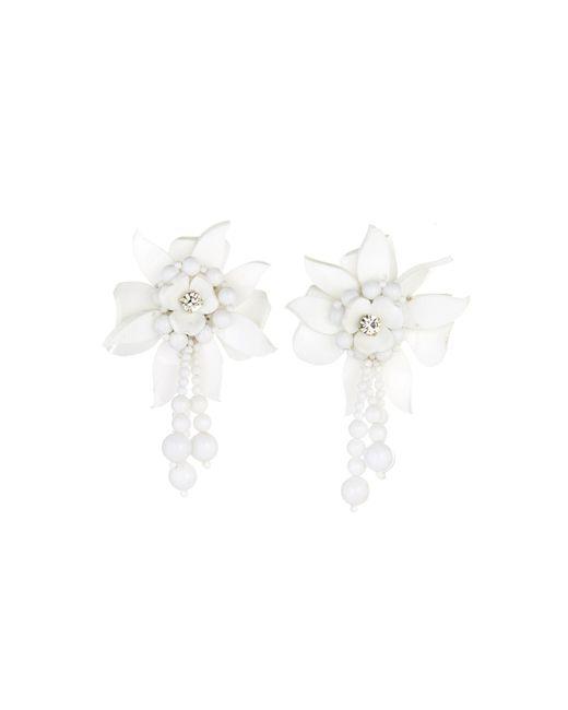 Oscar de la Renta - White Carmine Flower Field Earrings - Lyst