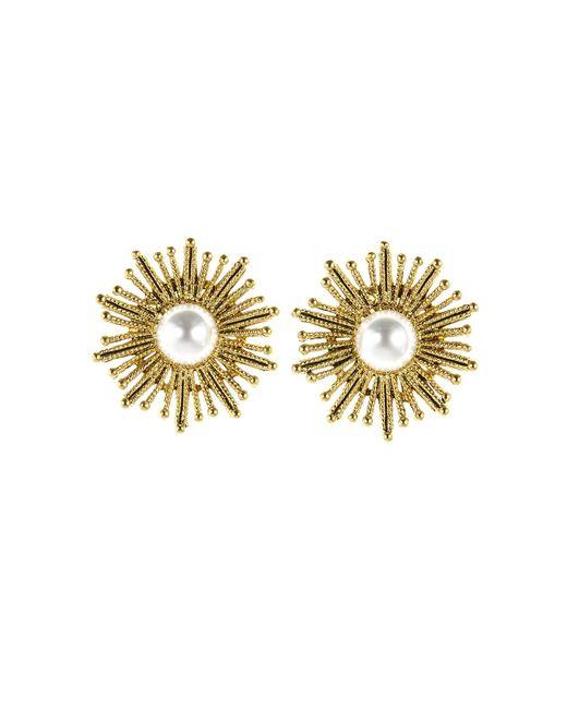 Oscar de la Renta - Multicolor Pearl Sun Star Button Earrings - Lyst