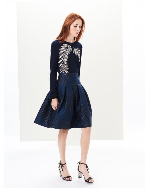 Oscar de la Renta - Blue Lurex Fern Leaf Matelassé Skirt - Lyst