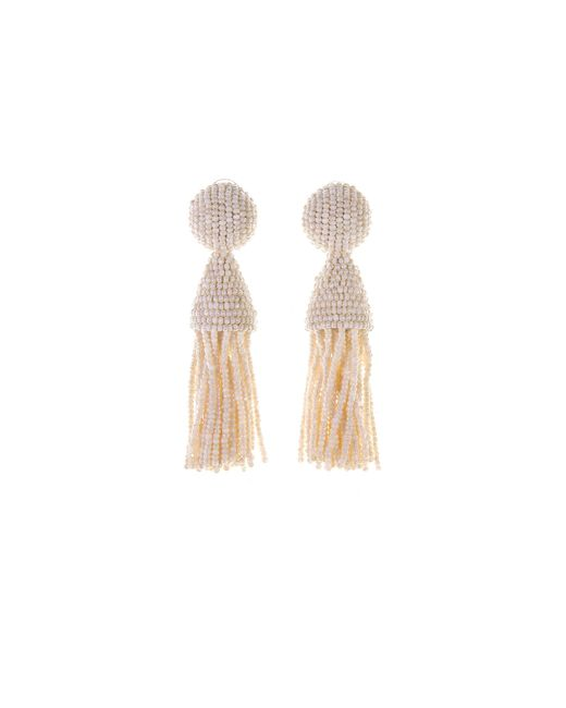 Oscar de la Renta - Metallic Ivory Classic Short Tassel Earrings - Lyst