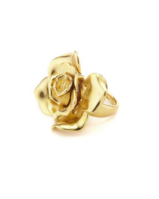 Oscar de la Renta | Metallic Gold Rosette Ring | Lyst