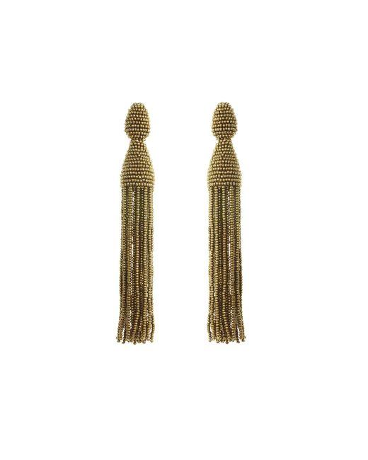 Oscar de la Renta | Metallic Beaded Long Tassel Earrings | Lyst