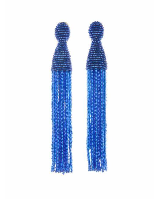 Oscar de la Renta - Blue Long Beaded Tassel Earrings - Lyst