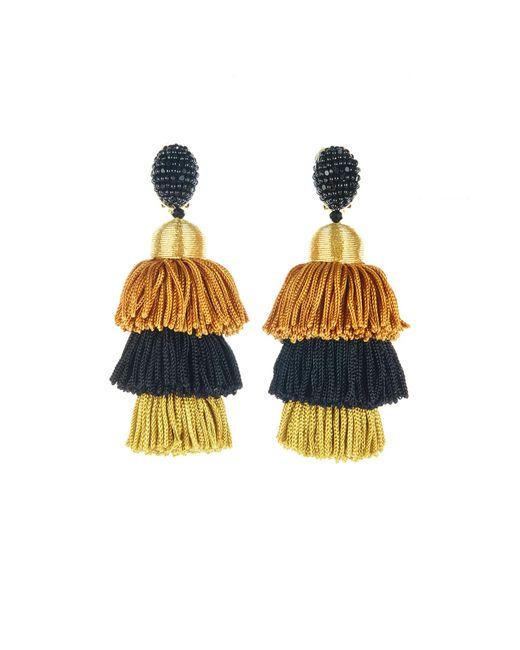 Oscar de la Renta   Metallic Gold Long Silk Tiered Tassel Earrings   Lyst