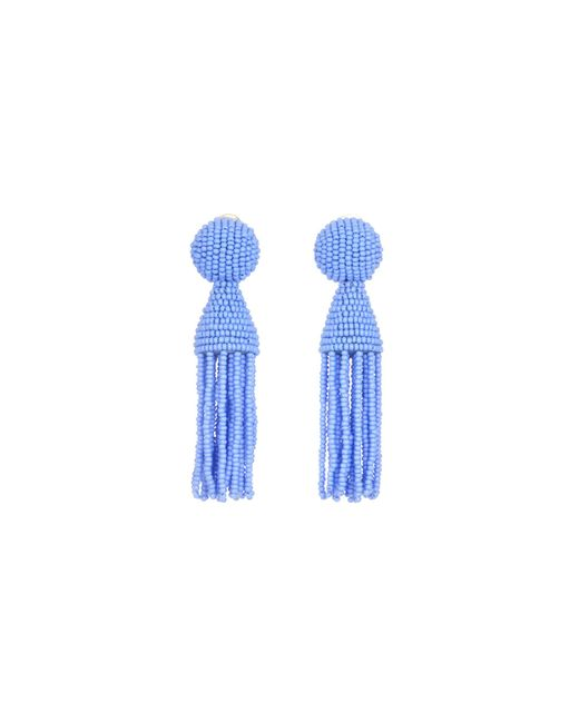 Oscar de la Renta - Blue Silver Short Beaded Tassel Earrings - Lyst