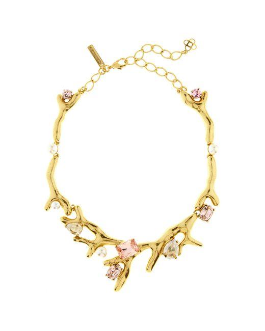 Oscar de la Renta - Metallic Vintage Rose Crystal Necklace - Lyst