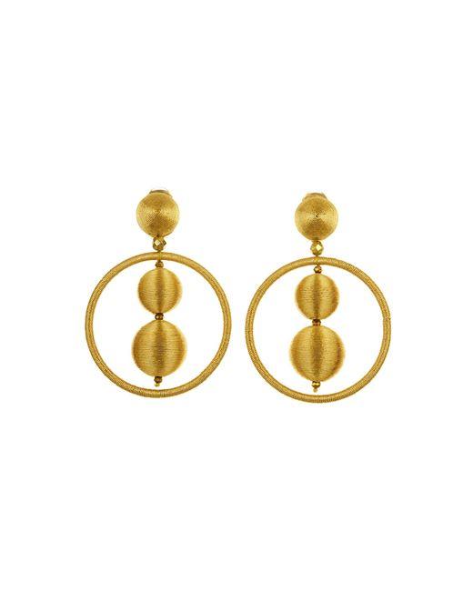 Oscar de la Renta - Metallic Gold Threaded Bead Hoop Earrings - Lyst