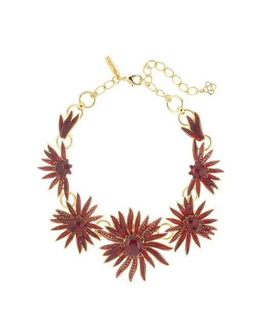Oscar de la Renta | Multicolor Floral Resin And Pavé Necklace | Lyst